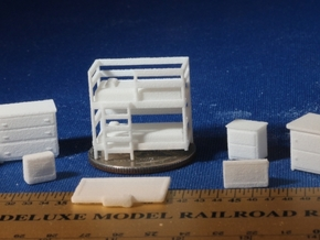 Bedroom with Bunk Beds HO Scale in White Natural Versatile Plastic