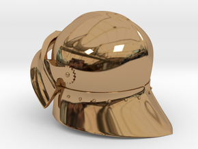 Medieval Sallet compatible with playmobil figure in Polished Brass