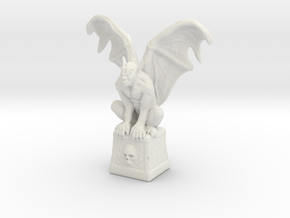 Gargoyle On Cube 100mm in White Natural Versatile Plastic