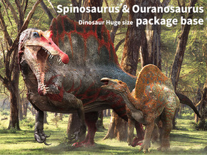 Spinosaurus & Ouranosaurus package base in White Natural Versatile Plastic