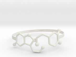 Serotonin Dopamine Bracelet Embossed 75mm in White Natural Versatile Plastic