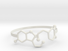 Serotonin Dopamine Bracelet Embossed 70mm in White Natural Versatile Plastic