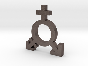 Feminism Symbol in Polished Bronzed Silver Steel