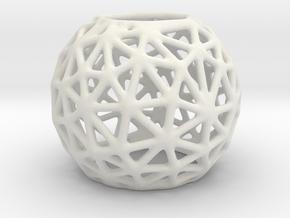 Voronoi Tealight in White Natural Versatile Plastic