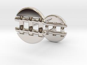 Pie Lattice Earring 4 in Rhodium Plated Brass