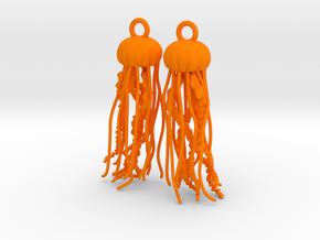 Sea Nettle Jellyfish Earrings in Orange Processed Versatile Plastic