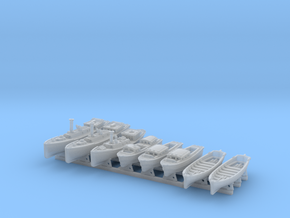 1/600 WW2 RN Boat Set 4 with Mounts in Smooth Fine Detail Plastic
