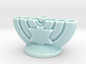Menorah the Candleholder (Multi Size) in Gloss Celadon Green Porcelain: Small