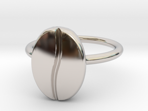 Coffee Bean Ring in Rhodium Plated Brass