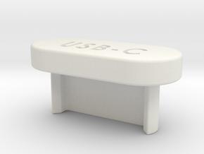 USB-C Flat Cover in White Natural Versatile Plastic
