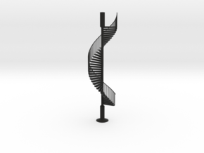 Spiral Stairs scale model sculpture in Black Natural Versatile Plastic