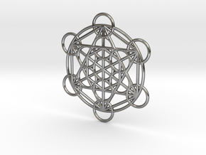 Metatron Grid Pendant in Polished Silver: Small