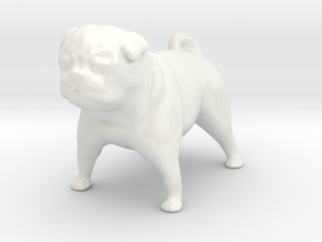 Mopsfigur / Pug in Gloss White Porcelain