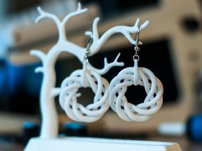 Torus Flower Earrings in White Strong & Flexible