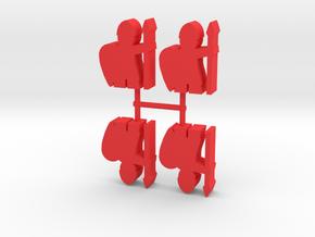 Viking Spearman Meeple, 4-set in Red Processed Versatile Plastic