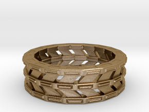 Triple Band Ring in Polished Gold Steel: Large