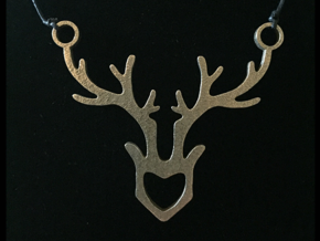Deer Pendant in Polished Bronzed Silver Steel