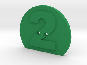 2 Hole Number 2 Button in Green Processed Versatile Plastic