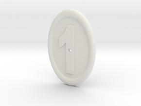 Oval Imitation Whistle-hole Number 1 Button in White Natural Versatile Plastic