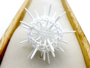Spiky Spumellaria Sculpture, 7cm in White Strong & Flexible Polished