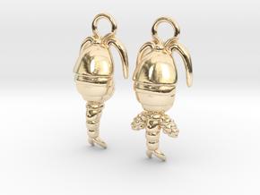 Copepod Earrings - Science Jewelry in 14K Yellow Gold