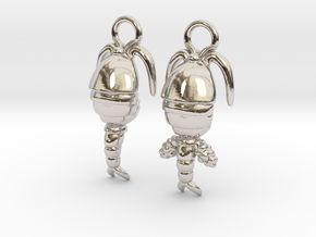 Copepod Earrings - Science Jewelry in Rhodium Plated Brass