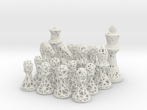 Chess Set Voronoi - Mini in White Natural Versatile Plastic