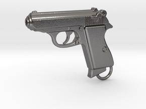 PPK Gun Keychain in Polished Nickel Steel