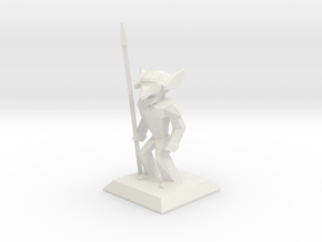 LowPoly Goblin Spearnman in White Natural Versatile Plastic