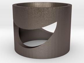 Crescent Ring (Bottle Opener) in Polished Bronzed Silver Steel