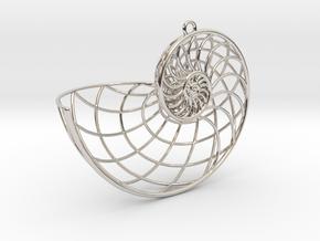 Nautilus Pendant in Rhodium Plated Brass