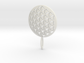 Flower of Life Keychain key fob  in White Natural Versatile Plastic