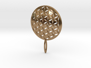 Flower of Life Keychain key fob  in Natural Brass