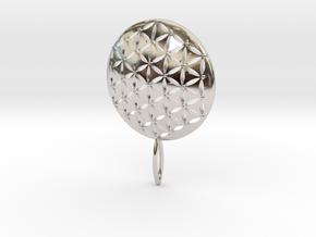 Flower of Life Keychain key fob  in Platinum