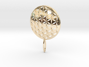 Flower of Life Keychain key fob  in 14k Gold Plated Brass