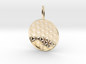 Flower Of Life Pendant Cosmic Jewelry in 14k Gold Plated Brass