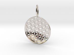 Flower Of Life Pendant Cosmic Jewelry in Rhodium Plated Brass