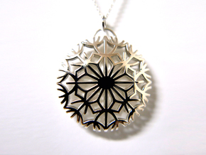 Dandelion seeds pendant(32mm) in Polished Silver