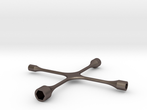 1/10 SCALE (4) WAY LUG WRENCH in Polished Bronzed Silver Steel: 1:10