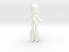 Doodle Gal V2 in White Strong & Flexible Polished: Small