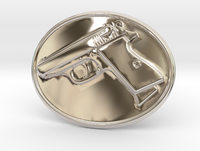 PPK GUN Beltbuckle in Platinum