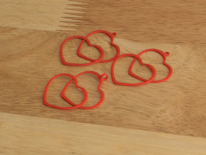 2 Hearts earrings and necklace pendant set in Red Processed Versatile Plastic