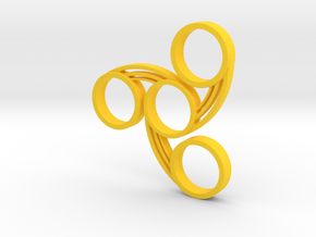 Tri-Swirl Fidget Spinner in Yellow Processed Versatile Plastic