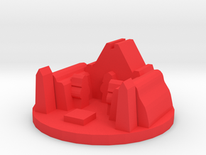 Game Piece, Ancient Dark Temple in Red Processed Versatile Plastic