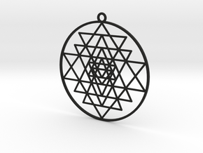 Sri Yantra Pendant in Black Natural Versatile Plastic: Large