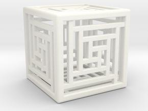 Cube Lattice in White Processed Versatile Plastic
