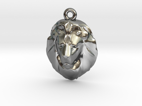 Lion's Head Pendant in Polished Silver