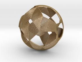 0411 Spherical Truncated Octahedron (d=6cm) #003 in Polished Gold Steel