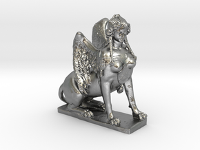 Greek Sphinx of Thebes and Oedipus  in Natural Silver
