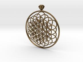 Flower Of Life Pendant 6cm Fancy Loopet in Natural Bronze